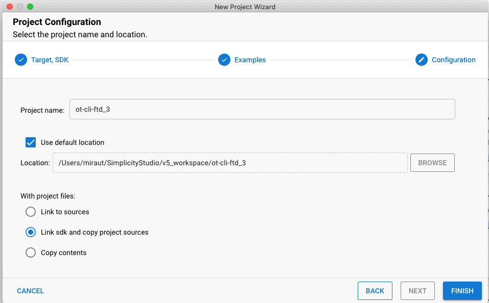 新しいプロジェクトウィザードのステップ3