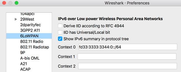 OT Sniffer Wireshark 6LoWPAN