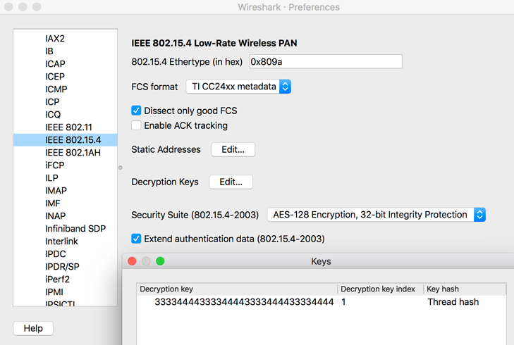 OT Sniffer Wireshark IEEE 802.15.4