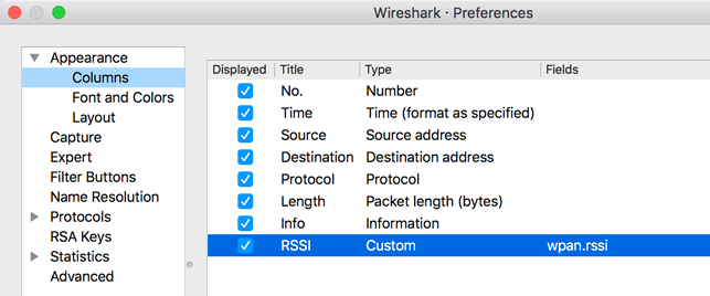 OT Sniffer Wireshark RSSI