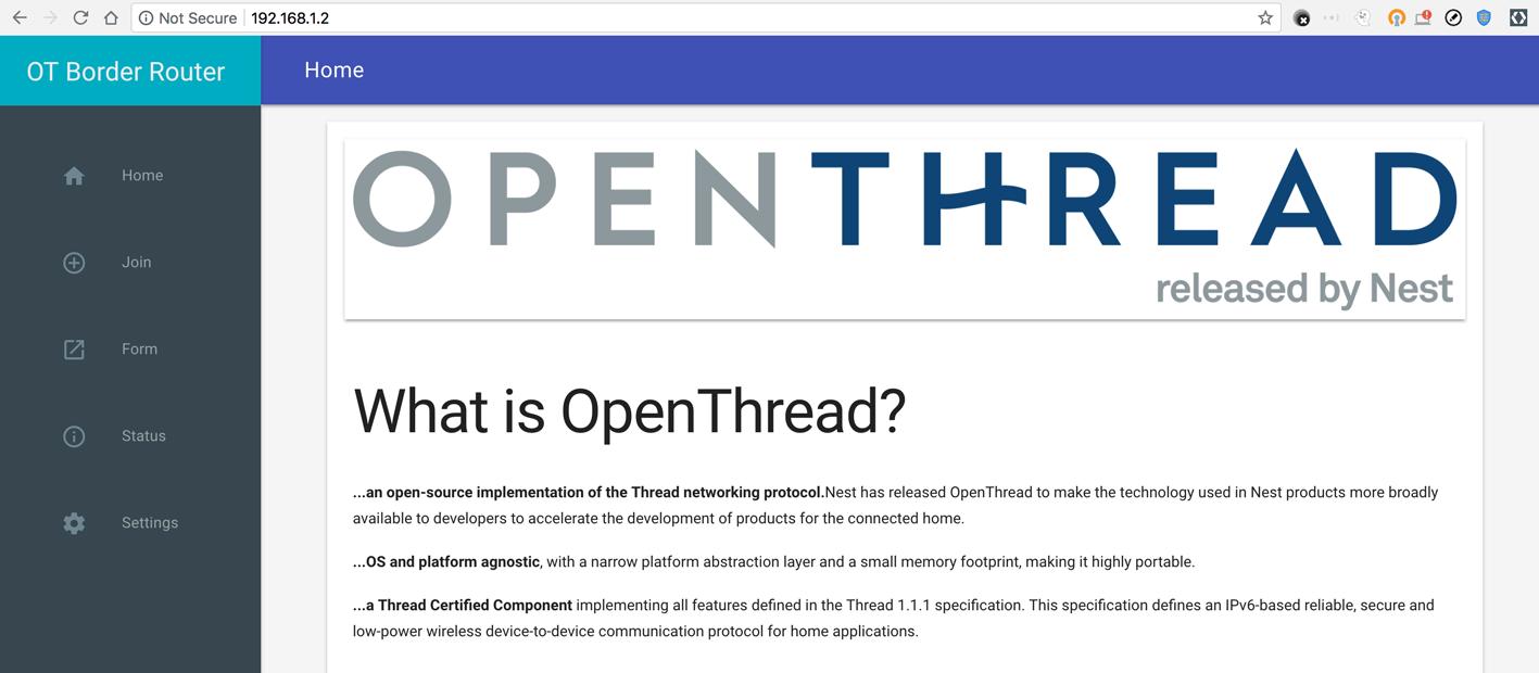الصفحة الرئيسية لـ OTBR Web GUI